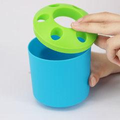 多功能塑料多孔牙膏牙刷架套装创意笔筒桌面整理收纳盒 可印logo 黄色
