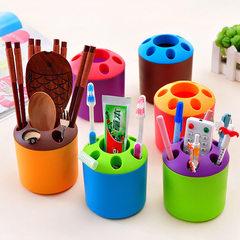 创意多孔牙刷架 牙具座多功能情侣牙刷筒 桌面大小号收纳笔筒批发 橙色 大号