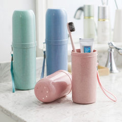 Portable toothbrush holder toothpick holder travel toothbrush box with toothpick holder holder blue 5.5 * 5.5 * 20 cm