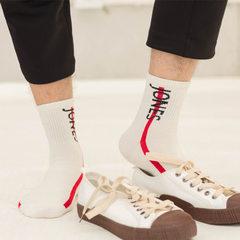 男士运动袜纯棉中筒袜秋冬季厚款男袜子全棉篮球袜子吸汗防臭 白色jose 均码