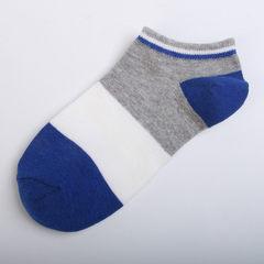 艾瑞格春夏新品 拼色宽条男运动船袜 透气短袜提花隐形袜批发 深蓝+浅灰 均码