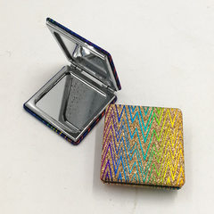 Manufacturer direct selling square metal cosmetic mirror double side PU mirror fashion cosmetic mirr 6 * 6 cm
