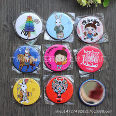 Fine metal advertising mirror production customized quality tinplate cosmetic mirror small mirror cu 58, 68, 74mm