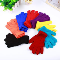 Hot style adult pure color thermal insulation magic knitting elastic bubble gloves manufacturers dir red