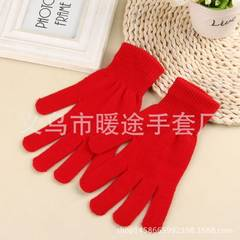 Autumn winter creative pure color warm knitting magic gloves men and women general figure skating LO red All code