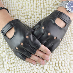 Men`s gloves rivets are not mainstream gloves punk gloves hip-hop gloves half finger gloves show glo black