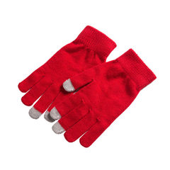 Touch screen gloves in winter thickened velveteen thermal touch screen gloves magic knitting gloves  red All code