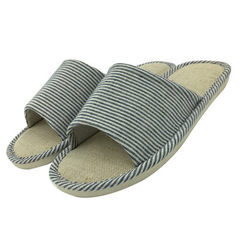 Indoor stripe flax lovers household slippers manufacturer wholesale network direct selling cotton an Blue and grey 260 (38 and 39)