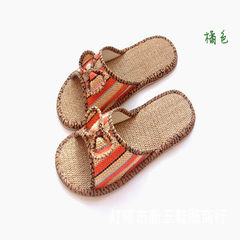 Bowknot flax slippers ancient town selling slippers home slippers residential slippers bowknot style red 35 and 36