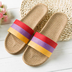 Flax slippers household slippers indoor slipper wooden floor a word silenced anti-slippery thick bot Rainbow orange 35 and 36