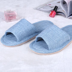 Indoor domestic linen slippers lovers spring and summer home wooden floor cool slippers breathable a blue 37, 38