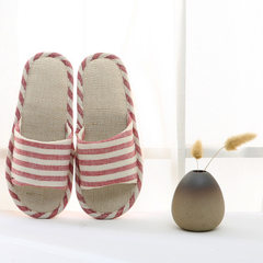 Stripe flax four seasons indoor cool slippers lovers anti - slippery soft bottom household wooden fl Big red [horizontal stripe opening] 37-38 [proposed 35-36 feet]