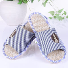New style stripe flax slippers indoor anti-skid men`s and women`s floor cold drag spring, summer, au red 37, 38
