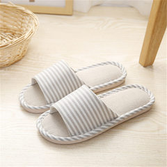 Japanese spring and summer autumn cloth art cool drag men and women lovers striped flax floor slippe beige 37, 38