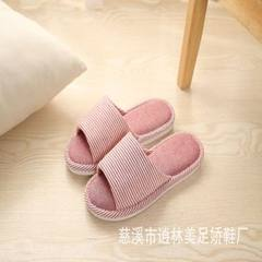 Manufacturer direct selling flax slippers lovers home stripes spring and autumn thick season slipper The big red 250 [37-38]