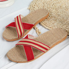 TUOMY new style furniture linen slippers indoor cotton and linen indoor and outdoor floors men`s and Big red/cross 35/36