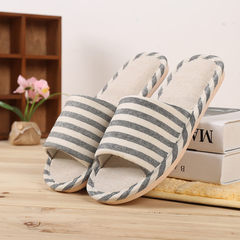 Manufacturer sells directly the summer slipper anti-skid indoor summer cloth art flax slippers woode black 37, 38