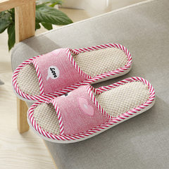2018 new style summer slippers indoor floor mop cloth art flax slippers spot market wholesale fuschia 36 and 37
