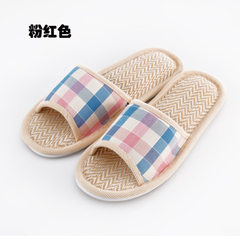 New British linen checked slippers cotton towing flax lovers indoor slippers cool slippers manufactu Pink [grid opening] 37-38 [for 35-36 feet]