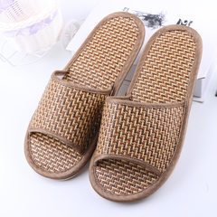 Summer straw sandals lovers indoor bamboo mat slippers Japanese household bamboo vine slippers runni brown 37, 38