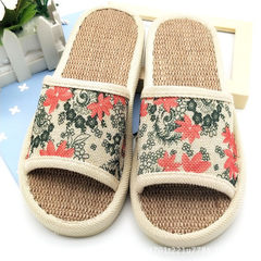2018 slippers four seasons household shoes breathable damping couples slippers maple leaf ladies fla red 37, 38