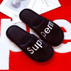 Spring letter popular logo supre lovers home wooden floor slippers men`s home anti-slip open slipper black 38/39 (for 37/38 feet)