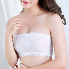 Spring and summer no shoulder belt wrapped breast short thin anti-light lace wipe breast black base  white All code
