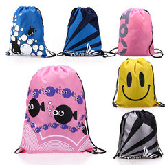 Beach bag for swimming beach bag waterproof material beach hot spring bathing suit tie mouth bag was The blue stripe