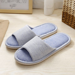 Factory direct sale new stripe flax slippers summer lovers leisure home anti-skid slippers wear-resi Bao LAN 37, 38