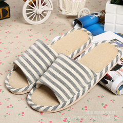 New style flax slippers spring and autumn floor slipper stripe lovers slippers cotton slippers at ho black 36/37
