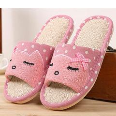 2017 new flax summer slippers lovers indoor home men and women cute cartoon anti-skid wooden floor s pink 30/31
