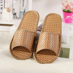 Spring and summer lovers cool slippers cool straw mat household cool drag men and women`s bamboo wov Bamboo rattan color 37, 38
