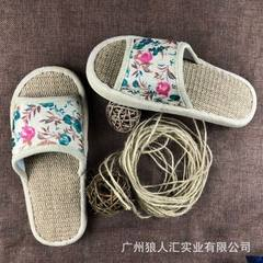 Old Beijing flax health slippers trade fair stalls hot hot style summer flax household anti-skid sli Small broken flower 35 and 36 women