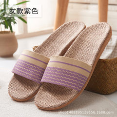 Direct selling flax slippers men and women living in summer anti - skid cool slippers manufacturers  T8 purple 35-240 (36)