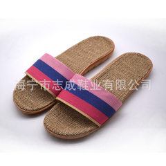Flax slippers men and women live in the house slippers indoor anti-odor floor summer floor shoes Female four-colour pink Size 24, size 35-36 fits