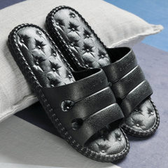 Summer new south Korean version of lovers slippers indoor anti-skid house slippers ultra-light wear- black 36/37