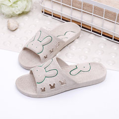 New summer rabbit slippers bathroom slippers soft-bottom bathing slippers men and women cool slipper white 34-35