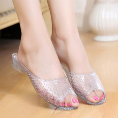 New style bathroom slippers female summer household crystal cool slippers transparent fashion genero white 36