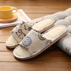 Indoor anti-skid household slippers summer lovers floor slippers Japanese style floral spring and au The tower 36 and 37