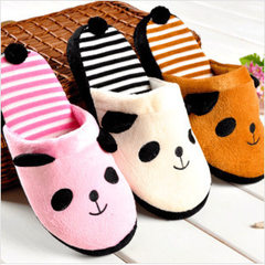 X winter cute panda cartoon couples home slippers anti-slippery floor cotton slippers wholesale brown 44-45