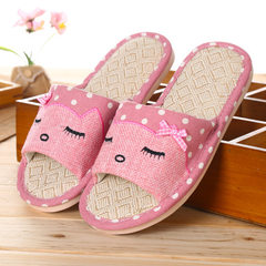 Spring and summer Korea version of the glasses indoor and outdoor lovers flax female slippers reside Pink [flax open cat] 37-38 [for 35-36 feet]