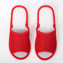 Tuomy net silk slipper female summer soft sole anti-skid couples living in the floor cotton and line red 36/37