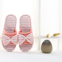 Autumn winter special price household bowknot open cotton slippers wholesale men lovers home anti-sl Bright pink. 38-39 [fit for 37-38]