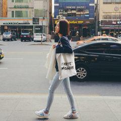 韩国新款印花女士手提帆布袋女 学生潮流单肩包 购物袋批发 白单肩小字母