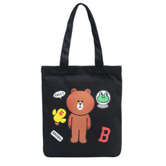 New Korean version of 2018 art canvas bag students single shoulder bag simple fashion bag bag make-u Bear brown black shoulder
