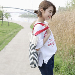 E02 original hand-made canvas bag Korean version hand bill of lading shoulder stripe student canvas  Red straps