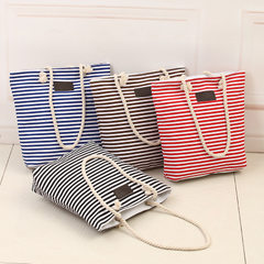2017 new style women`s bag fashionable portable canvas bag Korean version striped beach bag with lar black