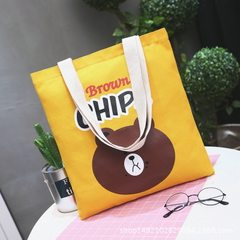 Wholesale Korean version of cute printed brown bear one-shoulder canvas bags for female students wit Big black bear