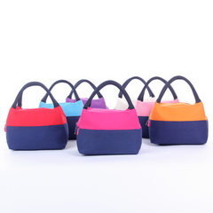 New Korean version of the fashion canvas patchwork thermal insulation convenient bag portable portab red