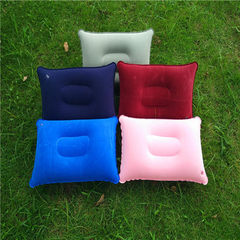 Wholesale outdoor PVC pillow travel camping thickset flannelette rectangular inflatable pillow siest Random mix hair 38 * 24